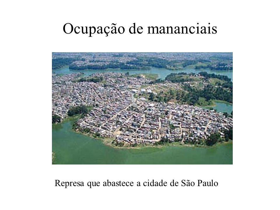 Ocupação de mananciais Represa que abastece a cidade de São Paulo