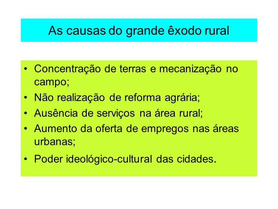 As causas do grande êxodo rural Concentração de terras e mecanização no campo; Não realização de reforma agrária; Ausência de serviços na área rural;
