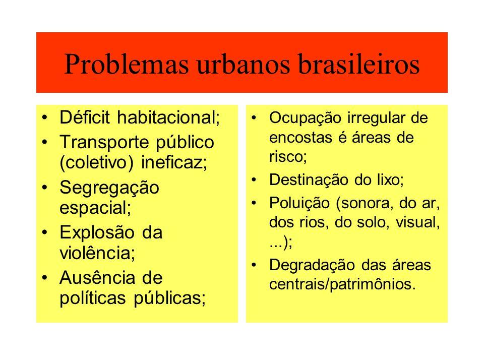 Problemas urbanos brasileiros Déficit habitacional; Transporte público (coletivo) ineficaz; Segregação espacial; Explosão da violência; Ausência de po