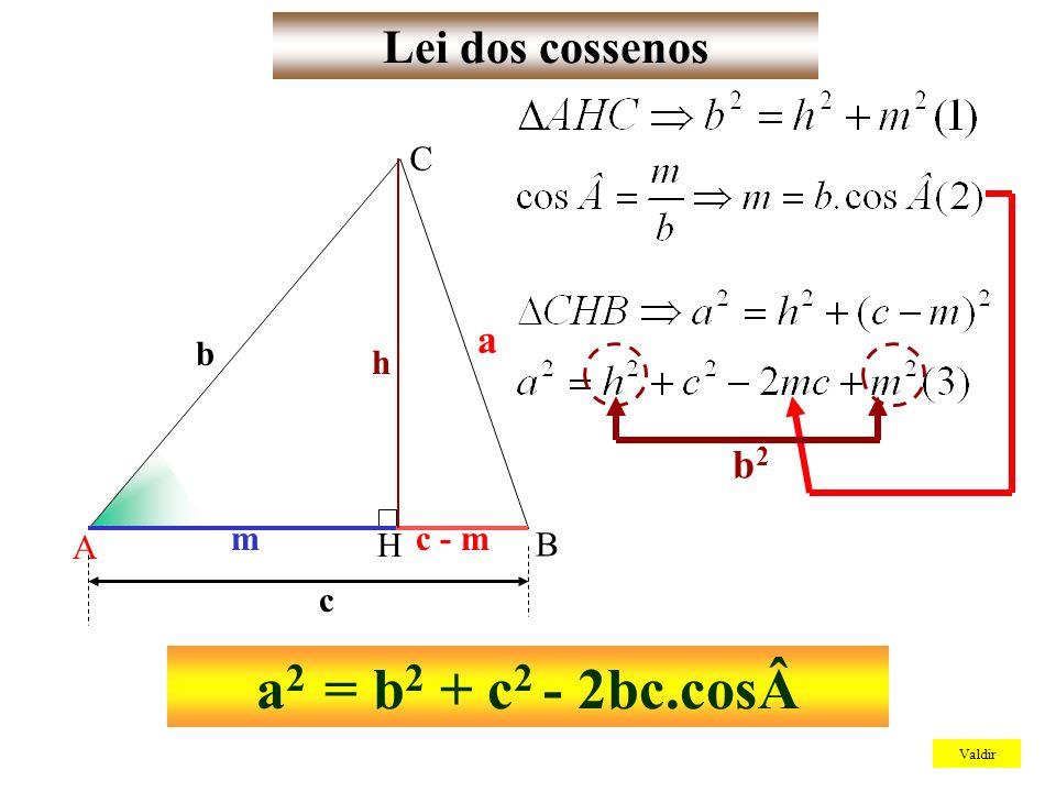 Lei dos cossenos Valdir A B C a b c m c - m h H b2b2 a 2 = b 2 + c 2 - 2bc.cosÂ