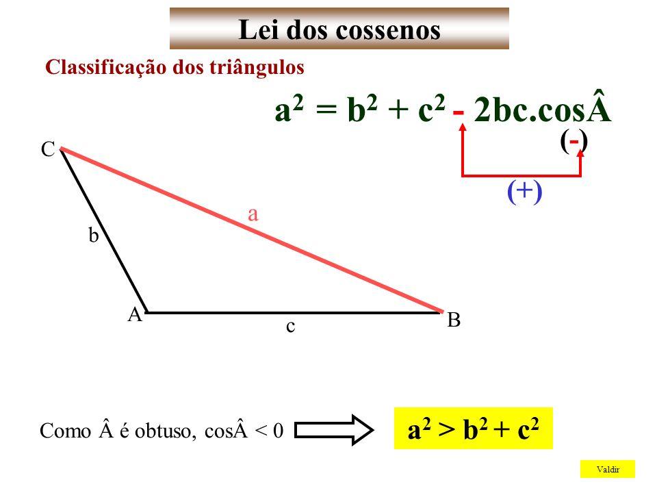 Lei dos cossenos Valdir Classificação dos triângulos Como é obtuso, cos< 0 a 2 > b 2 + c 2 a 2 = b 2 + c 2 - 2bc.cos(-)(-) (+) A B C b c a