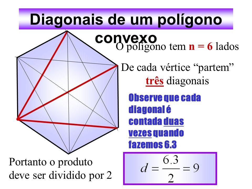 Diagonais de um polígono convexo O polígono tem n = 5 lados De cada vértice partem duas diagonais Portanto o número de diagonais é: Dica: cada diagona