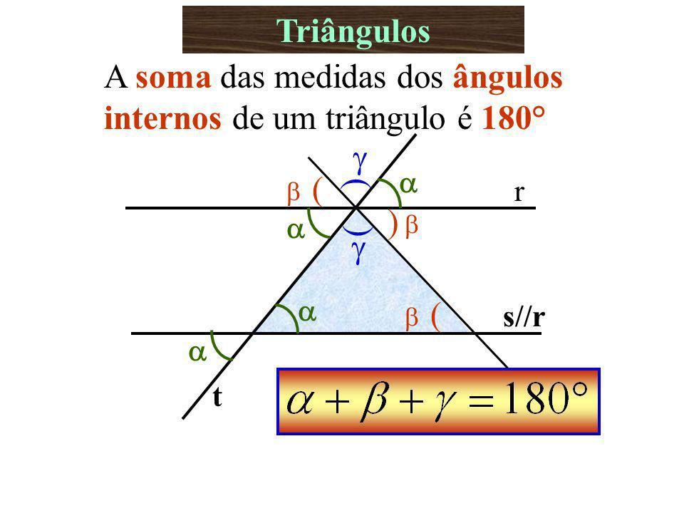 Triângulos A soma das medidas dos ângulos internos de um triângulo é 180° r s//r t ( ( ) ( (