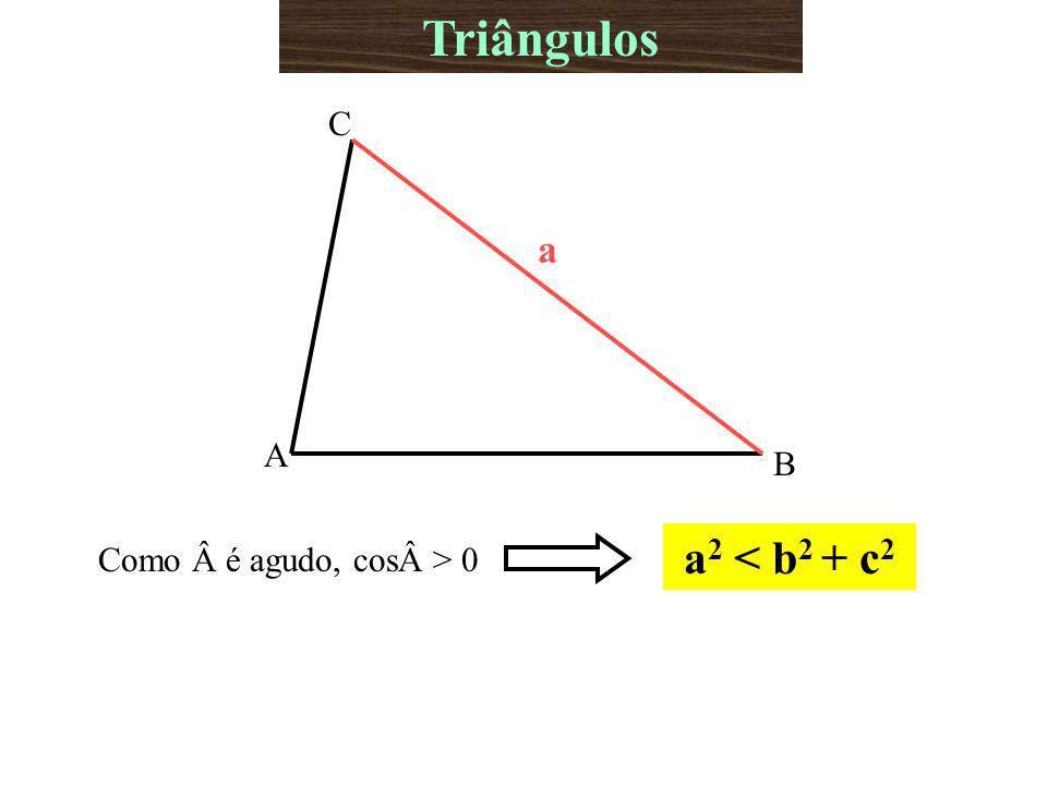A B C a Como é agudo, cos> 0 a 2 < b 2 + c 2 Triângulos