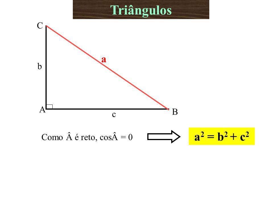 A B C b c a Como é reto, cos= 0 a 2 = b 2 + c 2