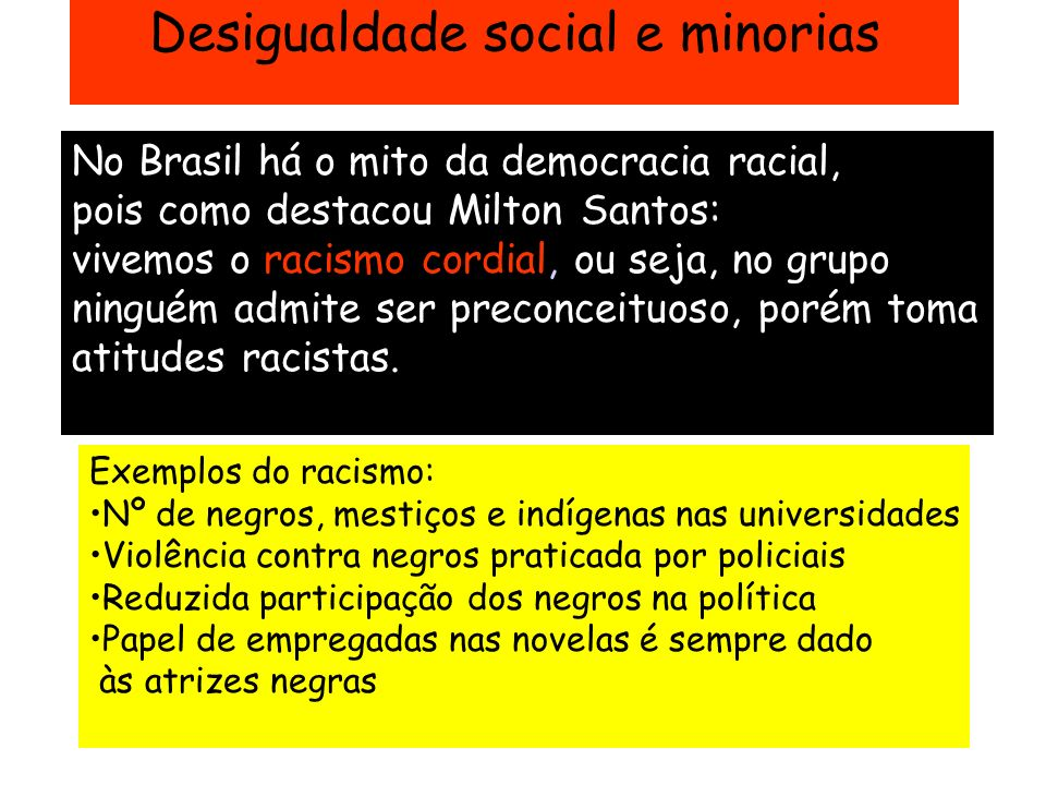 Desigualdade social e minorias No Brasil há o mito da democracia racial, pois como destacou Milton Santos: vivemos o racismo cordial, ou seja, no grup