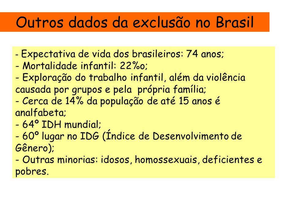 Outros dados da exclusão no Brasil - Expectativa de vida dos brasileiros: 74 anos; - Mortalidade infantil: 22%o; - Exploração do trabalho infantil, além da violência causada por grupos e pela própria família; - Cerca de 14% da população de até 15 anos é analfabeta; - 64º IDH mundial; - 60º lugar no IDG (Índice de Desenvolvimento de Gênero); - Outras minorias: idosos, homossexuais, deficientes e pobres.