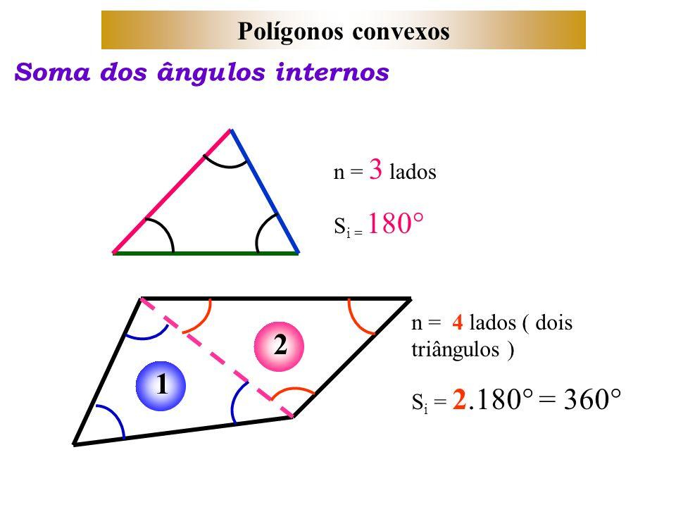 Polígonos convexos Soma dos ângulos internos n = 3 lados S i = 180° 12 n = 4 lados ( dois triângulos ) S i = 2.180° = 360°
