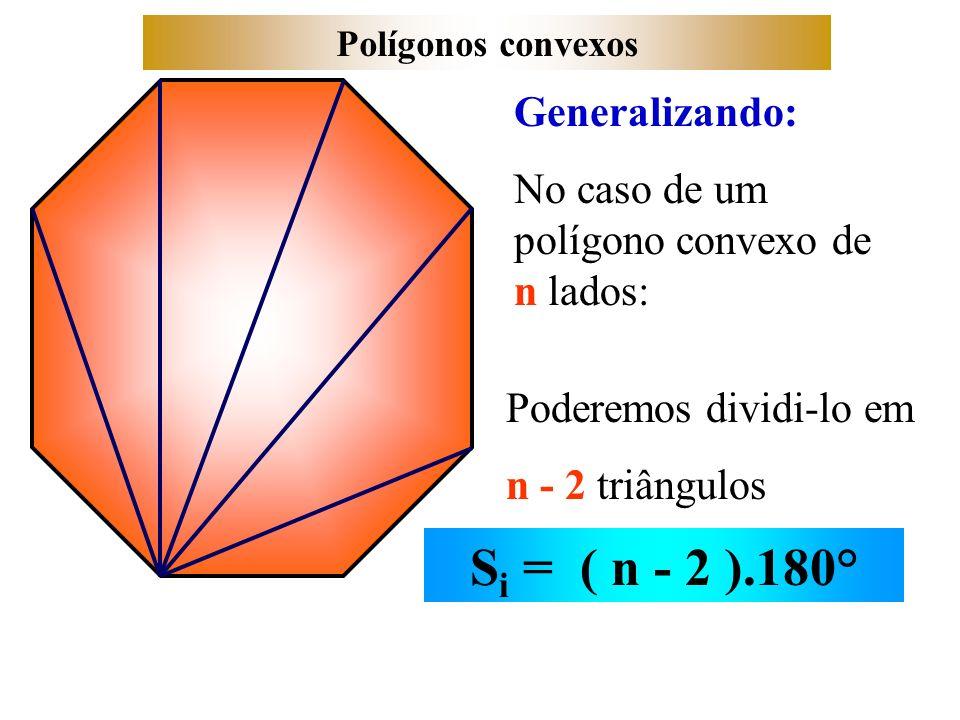 Polígonos convexos Generalizando: No caso de um polígono convexo de n lados: Poderemos dividi-lo em n - 2 triângulos S i = ( n - 2 ).180°