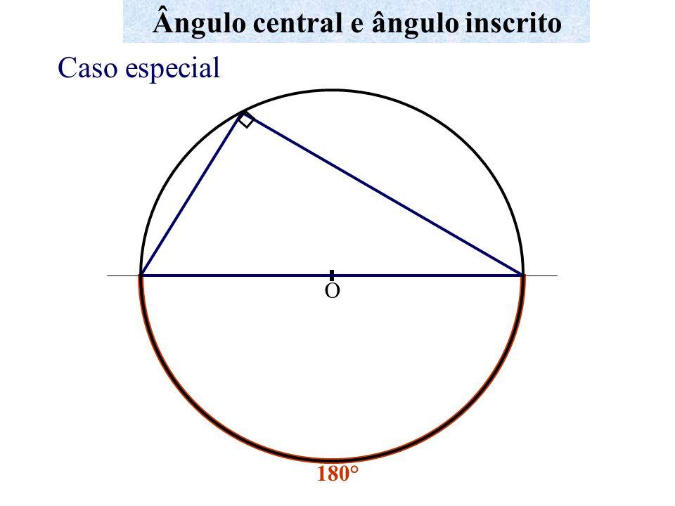 A B C D Ângulo central e ângulo inscrito Quadrilátero inscrito x 2.x y 2.y 2x + 2y = 360° Logo, x + y = 180° Num quadrilátero inscritível os ângulos opostos são suplementares x + y = 180°
