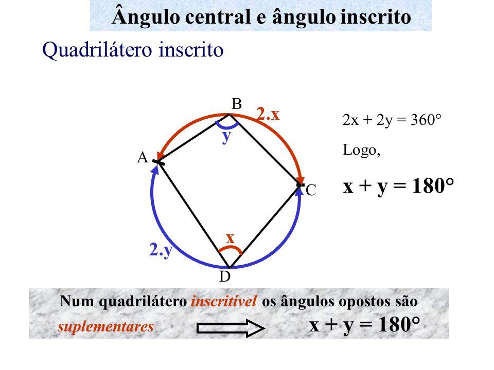 A B C D Ângulo central e ângulo inscrito Quadrilátero inscrito x 2.x y 2.y 2x + 2y = 360° Logo, x + y = 180° Num quadrilátero inscritível os ângulos o