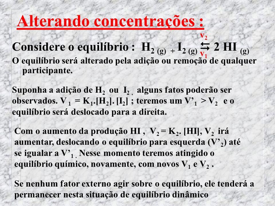 Alterando concentrações : Considere o equilíbrio : H 2 (g) + I 2 (g) 2 HI (g) O equilíbrio será alterado pela adição ou remoção de qualquer participante.