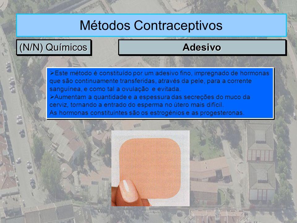 (N/N) Químicos Métodos Contraceptivos AdesivoAdesivo Este método é constituído por um adesivo fino, impregnado de hormonas que são continuamente trans