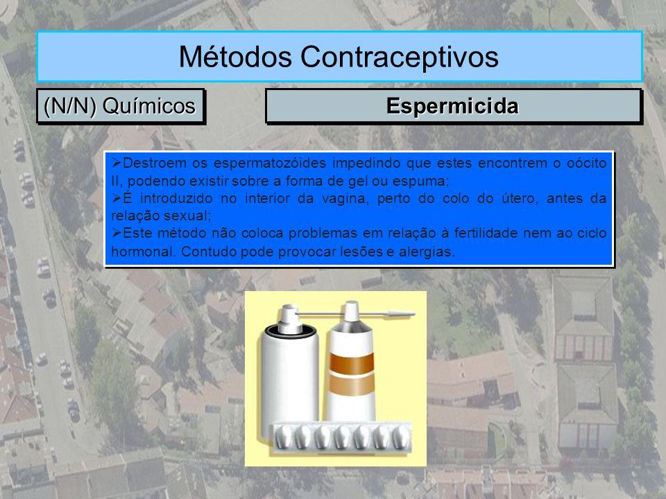 (N/N) Químicos Métodos Contraceptivos EspermicidaEspermicida Destroem os espermatozóides impedindo que estes encontrem o oócito II, podendo existir so