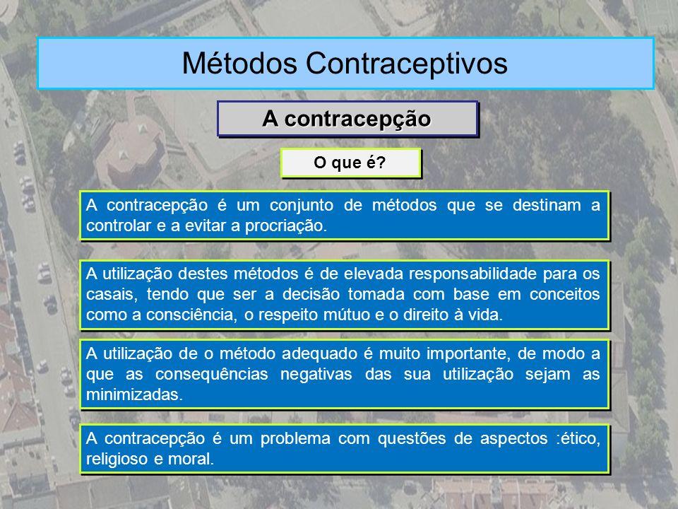 A contracepção é um conjunto de métodos que se destinam a controlar e a evitar a procriação. O que é? A contracepção Métodos Contraceptivos A utilizaç