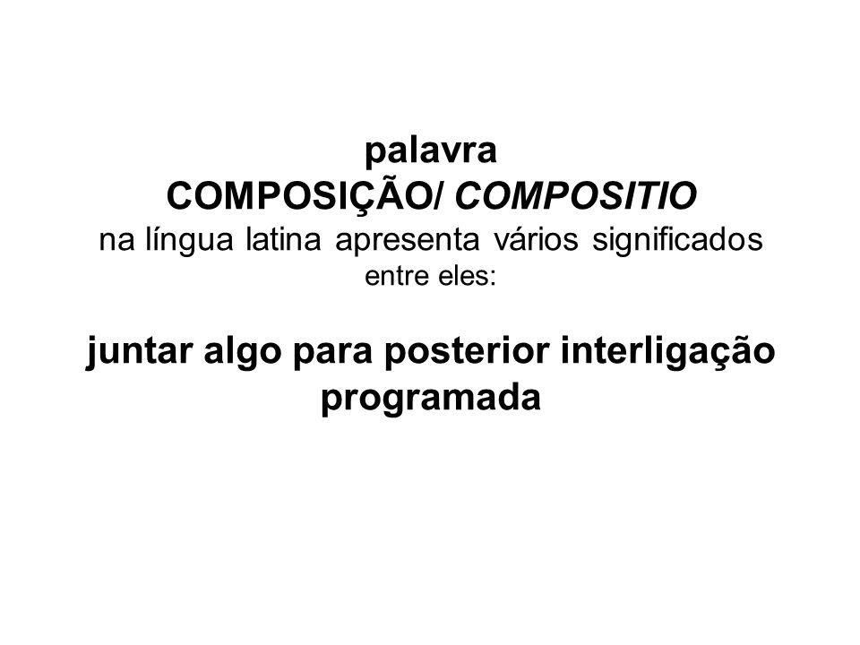 palavra COMPOSIÇÃO/ COMPOSITIO na língua latina apresenta vários significados entre eles: juntar algo para posterior interligação programada
