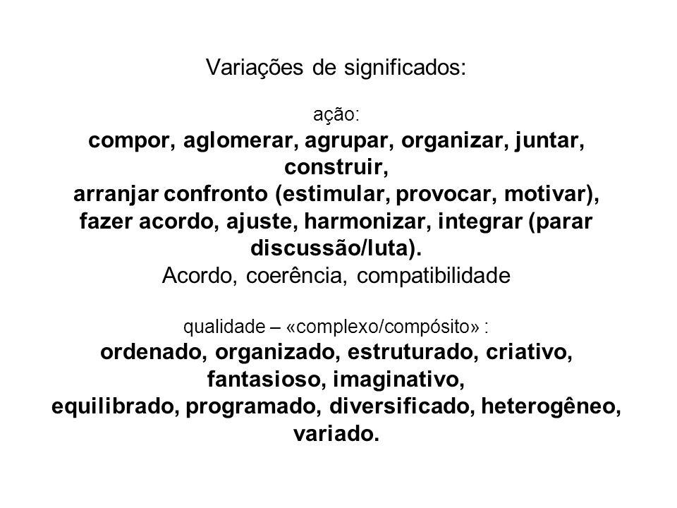 Variações de significados: ação: compor, aglomerar, agrupar, organizar, juntar, construir, arranjar confronto (estimular, provocar, motivar), fazer ac