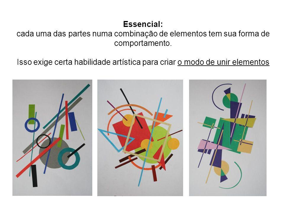 Essencial: cada uma das partes numa combinação de elementos tem sua forma de comportamento. Isso exige certa habilidade artística para criar o modo de