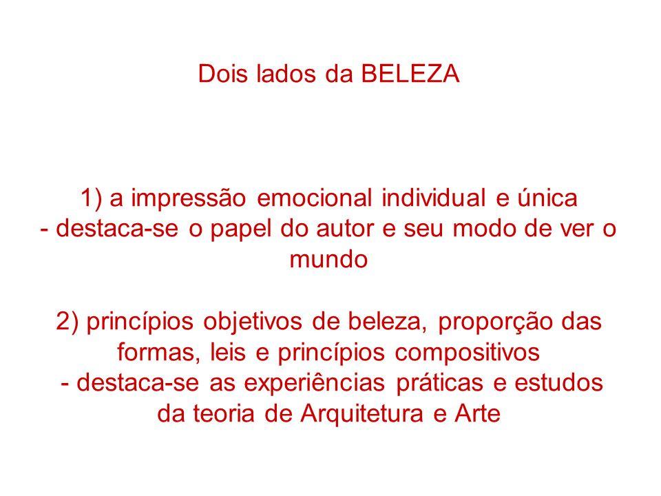 Dois lados da BELEZA 1) a impressão emocional individual e única - destaca-se o papel do autor e seu modo de ver o mundo 2) princípios objetivos de be