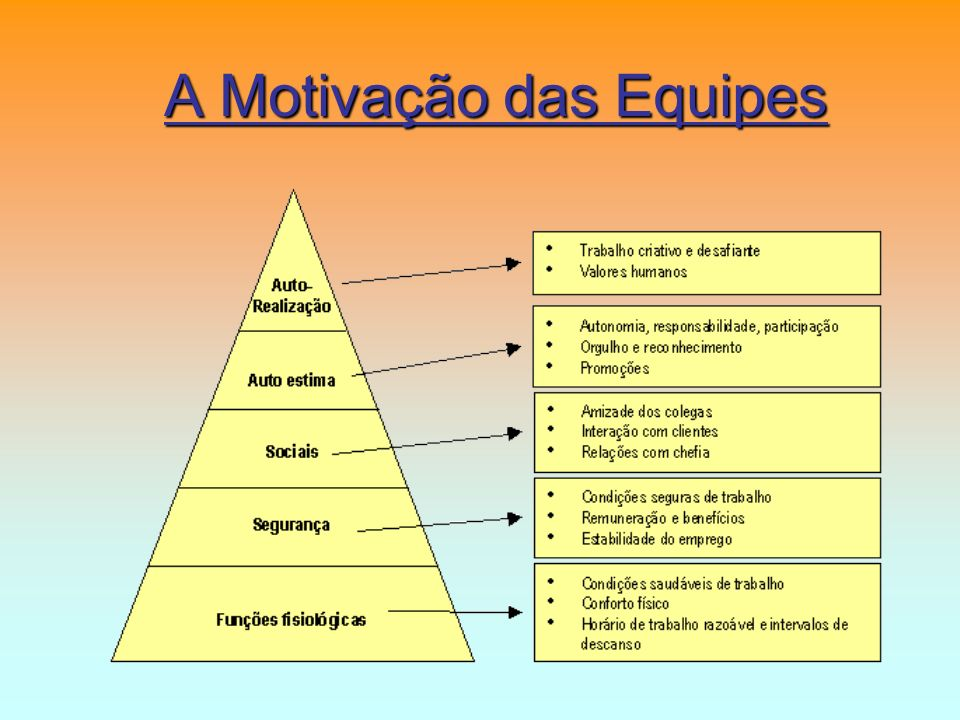 A Motivação está dentro da pessoa, não pode ser aplicada nem imposta A Motivação pode ser influenciada pelo ambiente de trabalho, família, sociedade, cultura, etc É possível modificar o perfil de Motivação de uma pessoa (por exemplo, com formação)