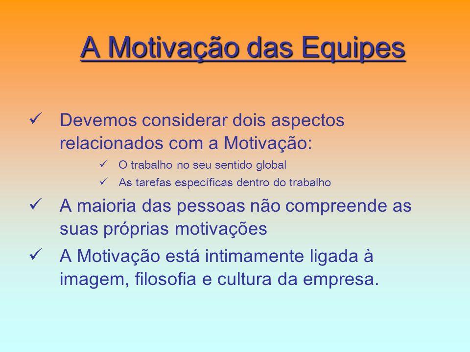 A Motivação das Equipes Devemos considerar dois aspectos relacionados com a Motivação: O trabalho no seu sentido global As tarefas específicas dentro