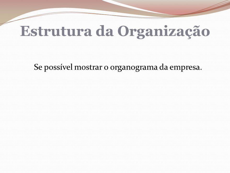 Estrutura da Organização Se possível mostrar o organograma da empresa.