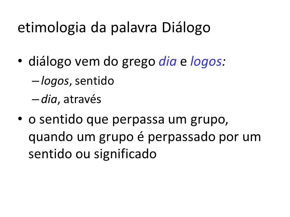 etimologia da palavra Diálogo diálogo vem do grego dia e logos: – logos, sentido – dia, através o sentido que perpassa um grupo, quando um grupo é per
