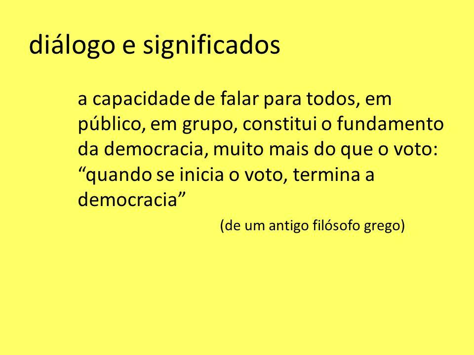 diálogo e significados a capacidade de falar para todos, em público, em grupo, constitui o fundamento da democracia, muito mais do que o voto: quando