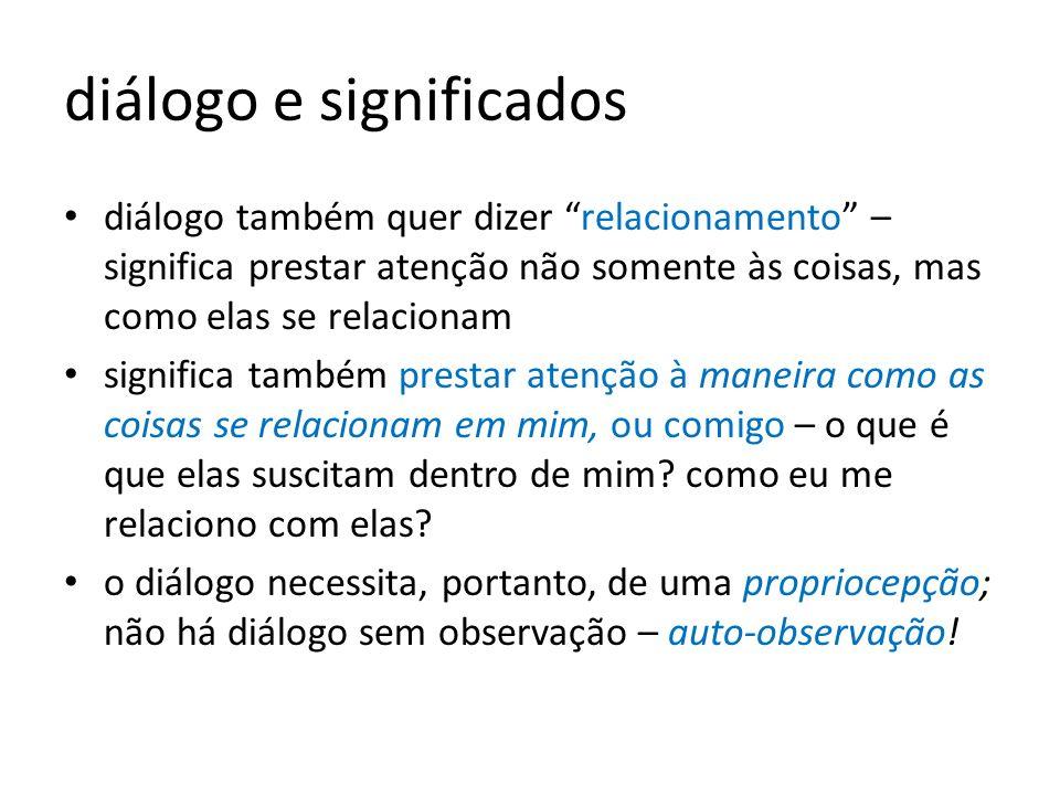 diálogo e significados diálogo também quer dizer relacionamento – significa prestar atenção não somente às coisas, mas como elas se relacionam signifi