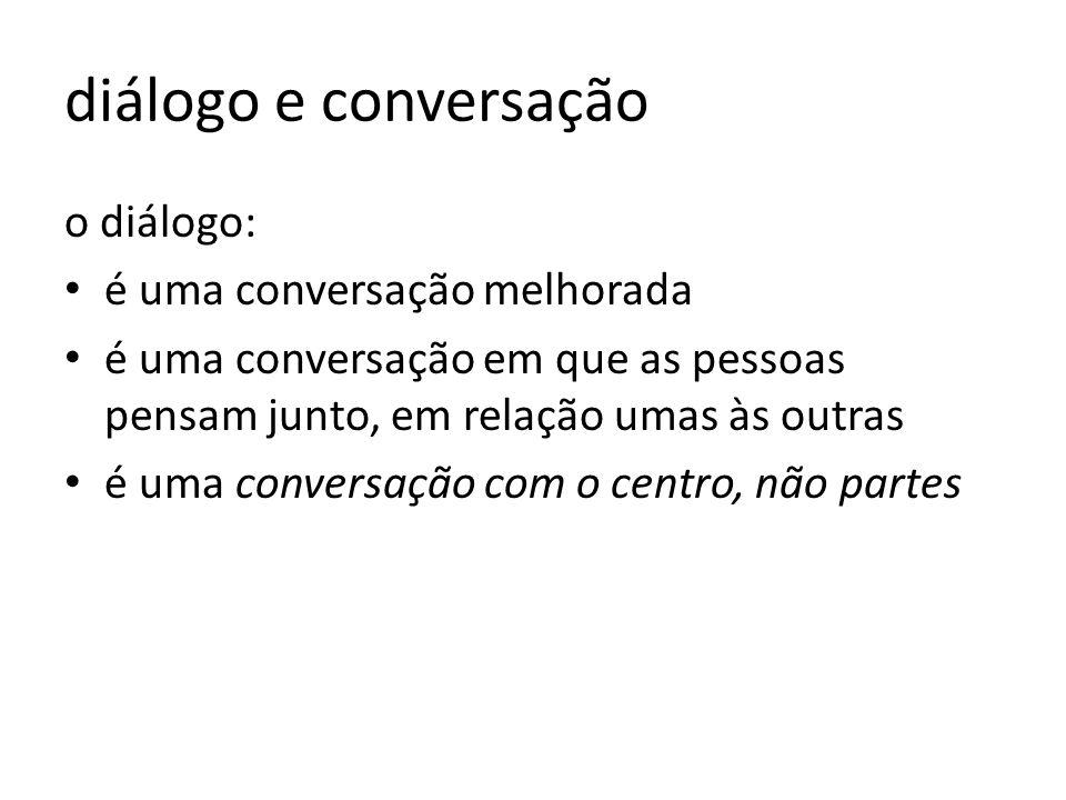 diálogo e conversação o diálogo: é uma conversação melhorada é uma conversação em que as pessoas pensam junto, em relação umas às outras é uma convers