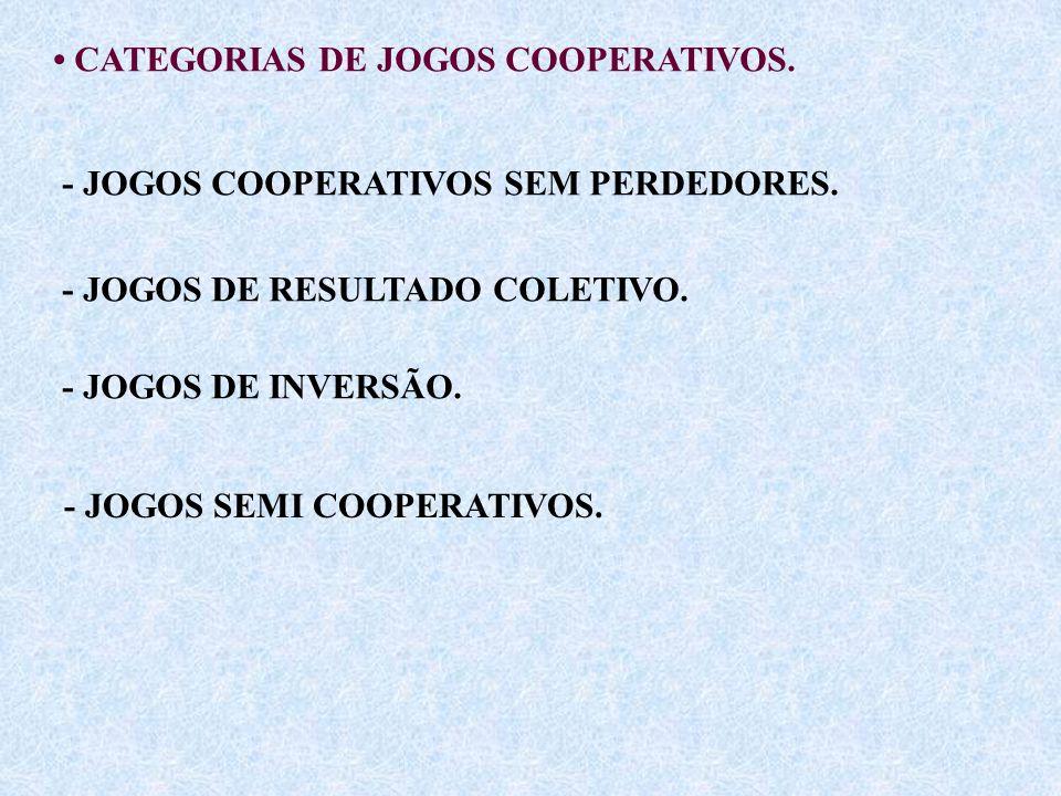 CATEGORIAS DE JOGOS COOPERATIVOS. - JOGOS COOPERATIVOS SEM PERDEDORES. - JOGOS DE RESULTADO COLETIVO. - JOGOS DE INVERSÃO. - JOGOS SEMI COOPERATIVOS.