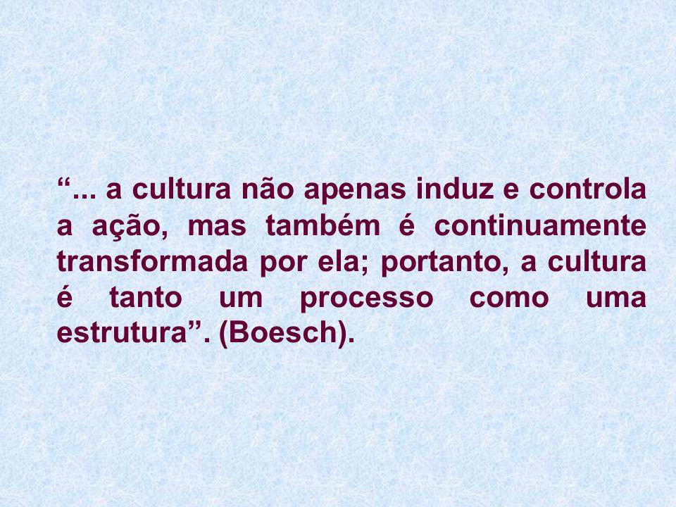 ... a cultura não apenas induz e controla a ação, mas também é continuamente transformada por ela; portanto, a cultura é tanto um processo como uma es