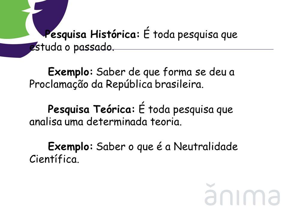 Pesquisa Histórica: É toda pesquisa que estuda o passado. Exemplo: Saber de que forma se deu a Proclamação da República brasileira. Pesquisa Teórica: