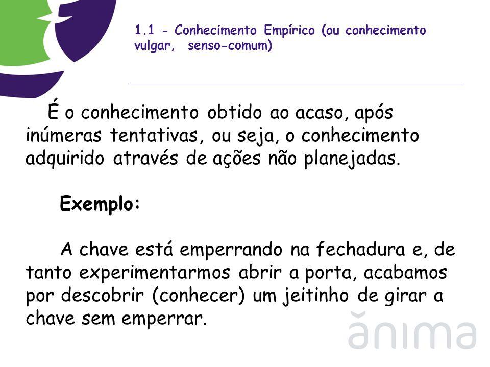1.1 - Conhecimento Empírico (ou conhecimento vulgar, senso-comum) É o conhecimento obtido ao acaso, após inúmeras tentativas, ou seja, o conhecimento