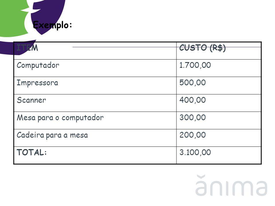 Exemplo: ITEMCUSTO (R$) Computador1.700,00 Impressora500,00 Scanner400,00 Mesa para o computador300,00 Cadeira para a mesa200,00 TOTAL:3.100,00