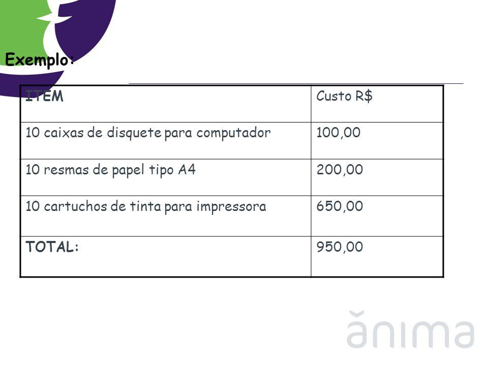 Exemplo: ITEMCusto R$ 10 caixas de disquete para computador100,00 10 resmas de papel tipo A4200,00 10 cartuchos de tinta para impressora650,00 TOTAL:9