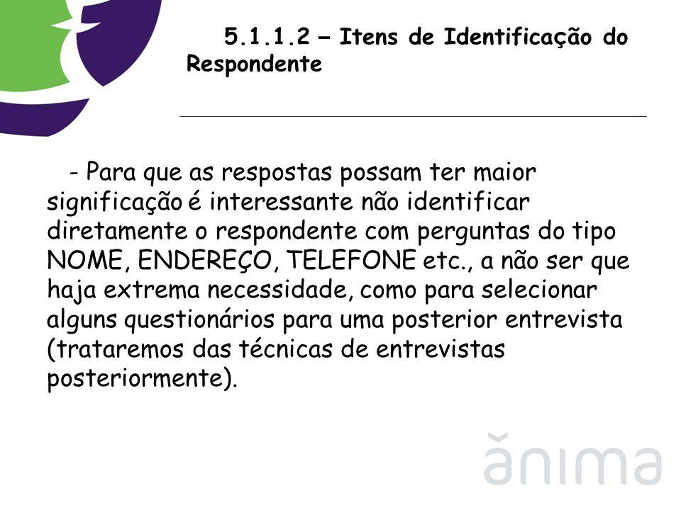 5.1.1.2 – Itens de Identifica ç ão do Respondente - Para que as respostas possam ter maior significação é interessante não identificar diretamente o r