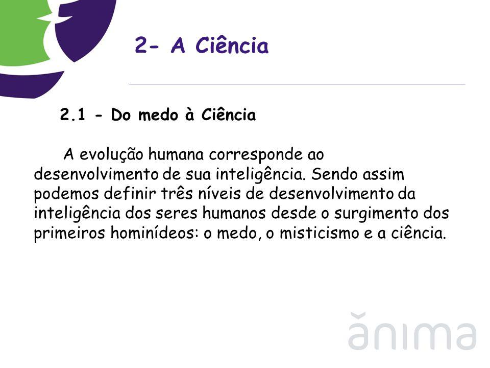 2- A Ciência 2.1 - Do medo à Ciência A evolução humana corresponde ao desenvolvimento de sua inteligência. Sendo assim podemos definir três níveis de