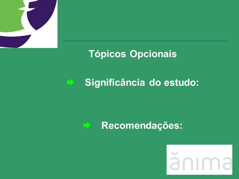 Tópicos Opcionais Significância do estudo: Recomendações:
