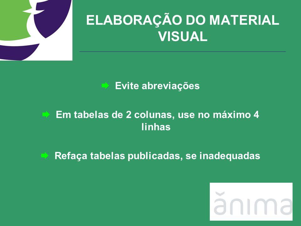ELABORAÇÃO DO MATERIAL VISUAL Evite abreviações Em tabelas de 2 colunas, use no máximo 4 linhas Refaça tabelas publicadas, se inadequadas