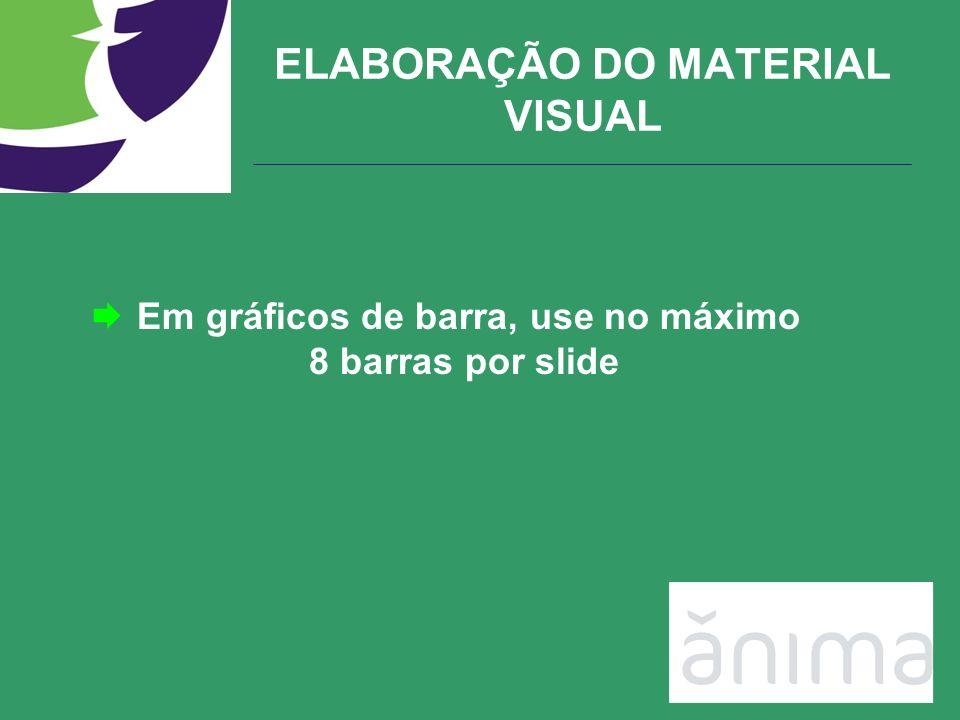 ELABORAÇÃO DO MATERIAL VISUAL Em gráficos de barra, use no máximo 8 barras por slide