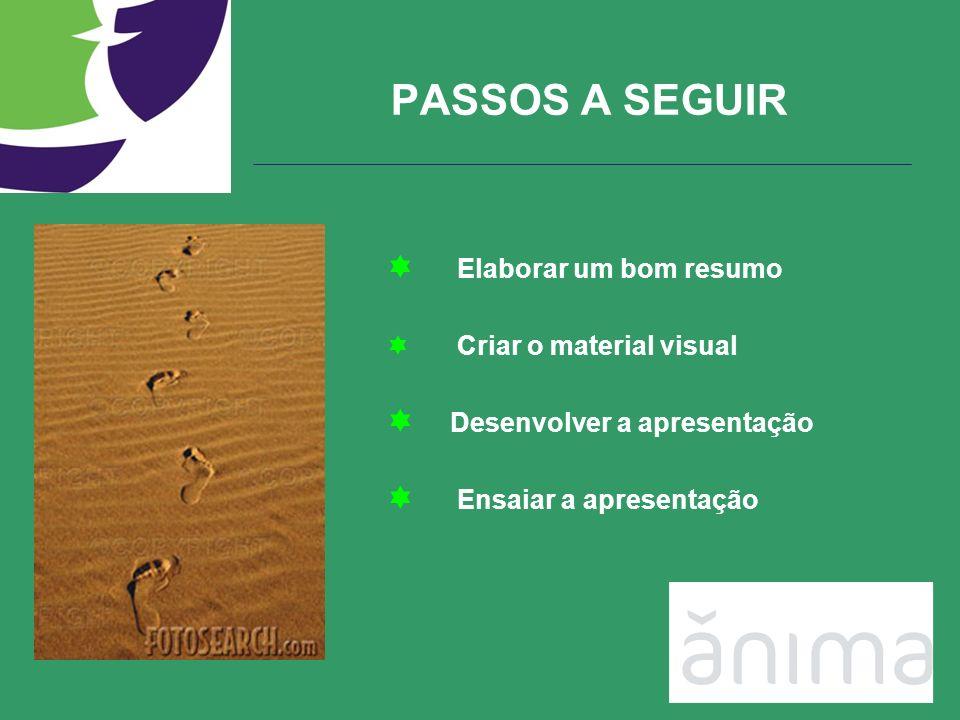 PASSOS A SEGUIR Elaborar um bom resumo Criar o material visual Desenvolver a apresentação Ensaiar a apresentação