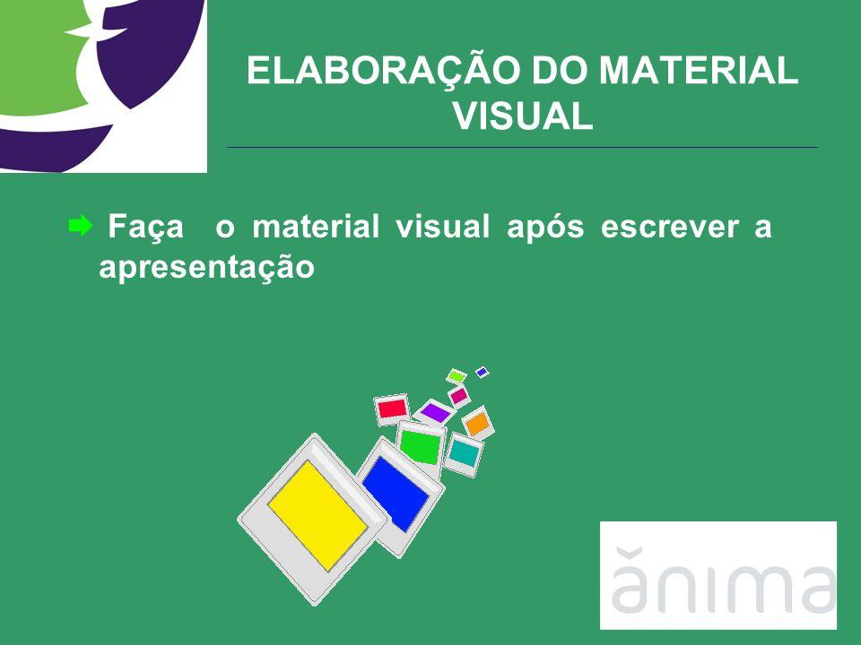 Faça o material visual após escrever a apresentação ELABORAÇÃO DO MATERIAL VISUAL