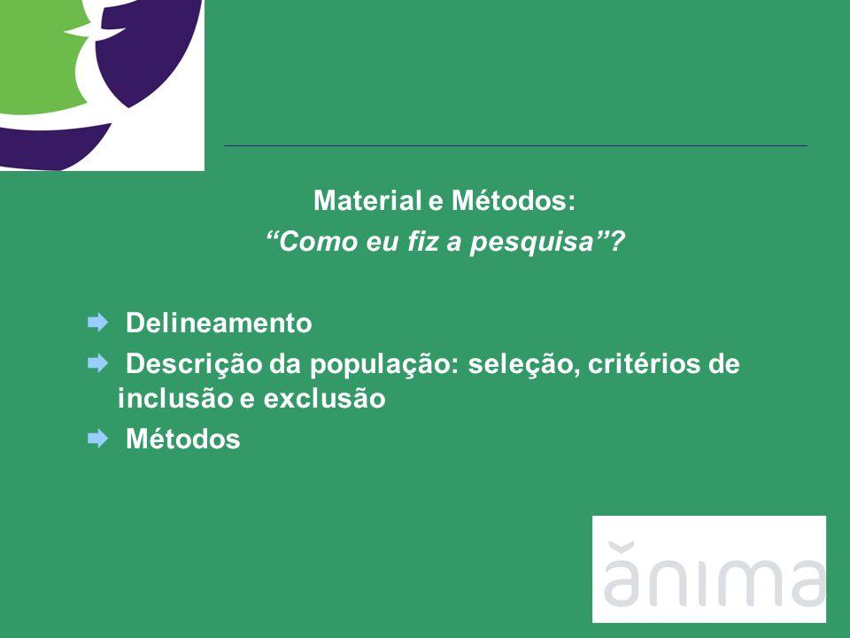 Material e Métodos: Como eu fiz a pesquisa? Delineamento Descrição da população: seleção, critérios de inclusão e exclusão Métodos