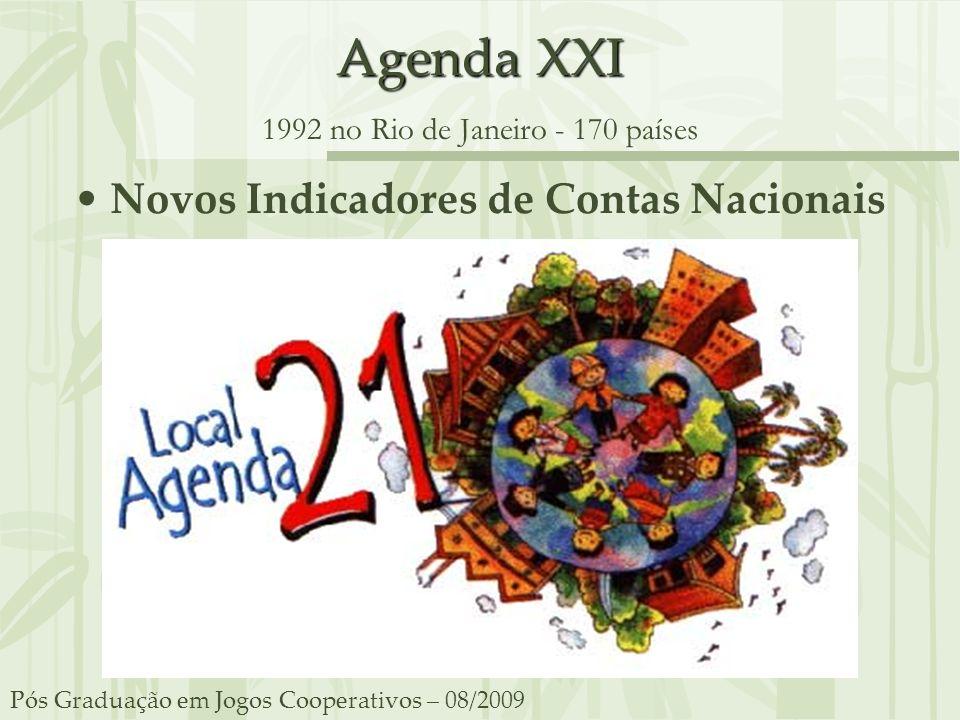 Agenda XXI Agenda XXI 1992 no Rio de Janeiro - 170 países Novos Indicadores de Contas Nacionais Pós Graduação em Jogos Cooperativos – 08/2009