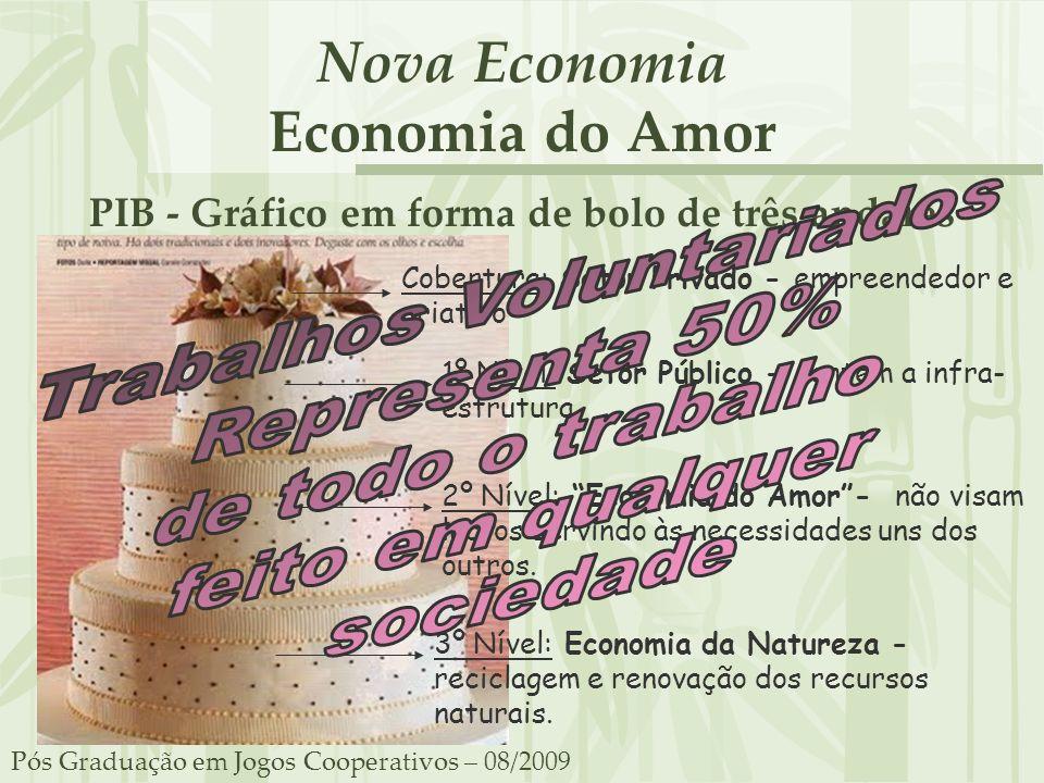 Nova Economia Economia do Amor PIB - Gráfico em forma de bolo de três andares Pós Graduação em Jogos Cooperativos – 08/2009 Cobertura: Setor Privado -