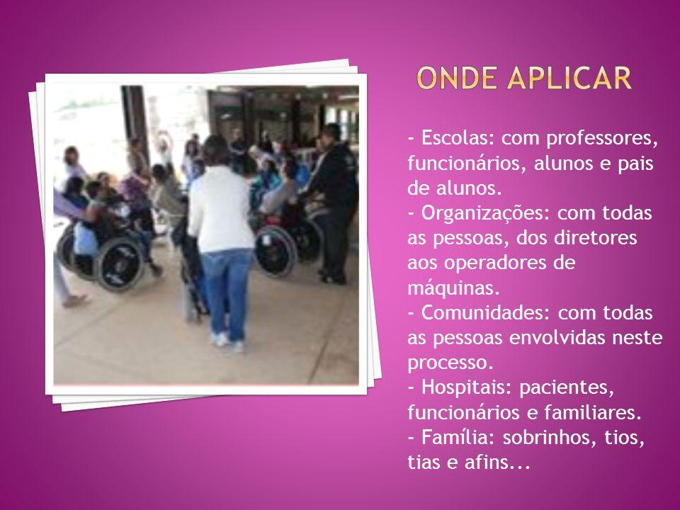 - Escolas: com professores, funcionários, alunos e pais de alunos.