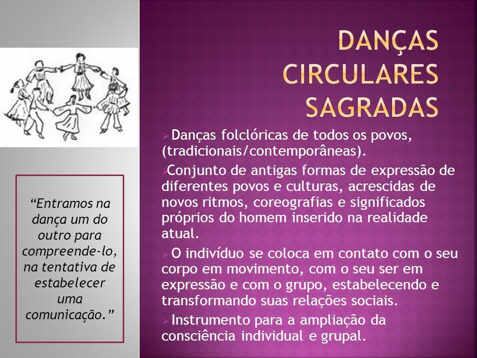 Danças folclóricas de todos os povos, (tradicionais/contemporâneas). Conjunto de antigas formas de expressão de diferentes povos e culturas, acrescida