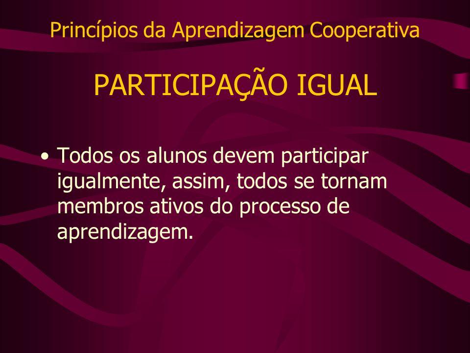 Princípios da Aprendizagem Cooperativa PARTICIPAÇÃO IGUAL Todos os alunos devem participar igualmente, assim, todos se tornam membros ativos do processo de aprendizagem.