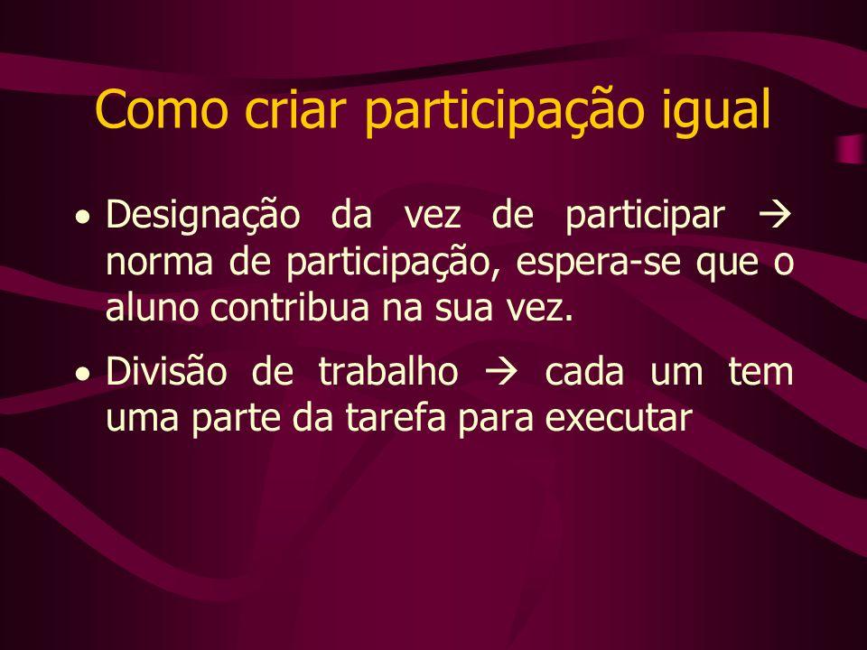 Como criar participação igual Designação da vez de participar norma de participação, espera-se que o aluno contribua na sua vez.